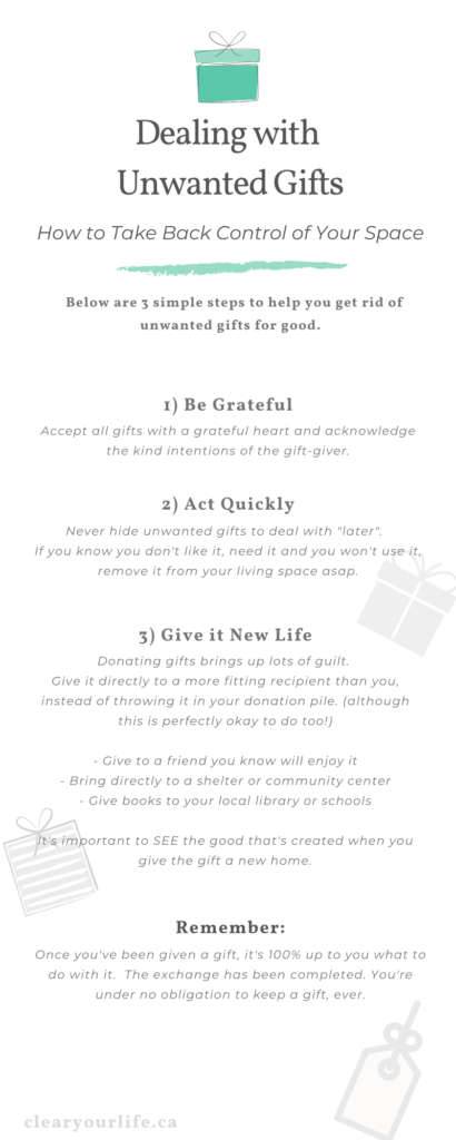 infographic with 3 steps to deal with unwanted gifts